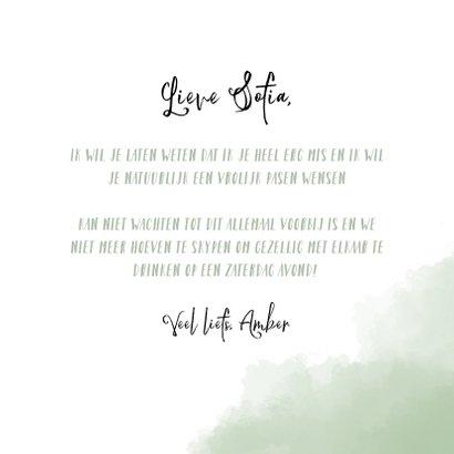 Paaskaart Vrolijk Pasen met mint-groene achtergrond 3