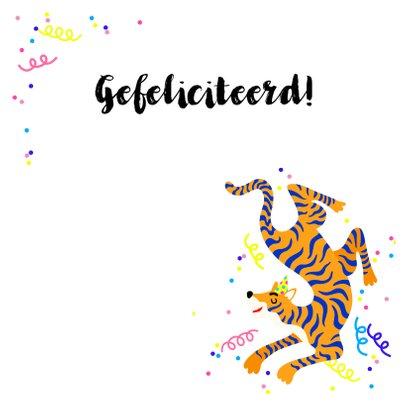 Party animal verjaardagskaart met tijger en slingers 2