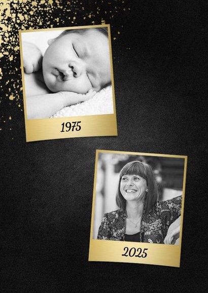 Party-Einladung goldene Typografie und Foto 2