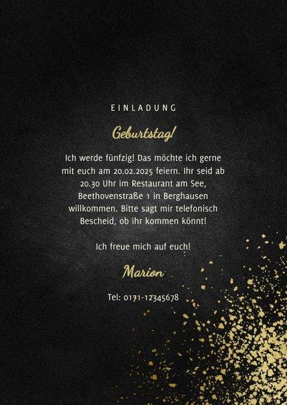 Party-Einladung goldene Typografie und Foto 3