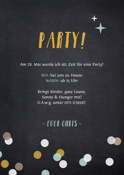 Partyeinladung Fotocollage auf Kreidetafel 3
