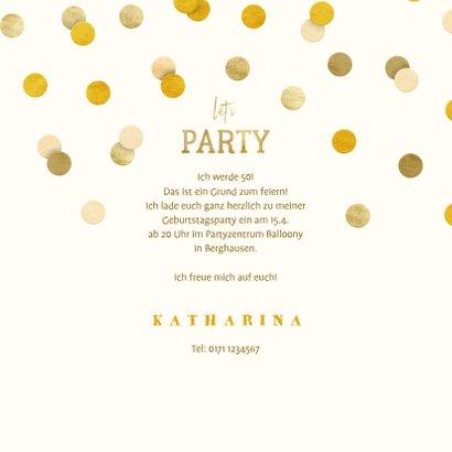 Partyeinladung Goldene Konfetti 3