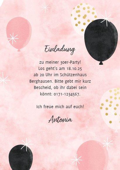 Partyeinladung mit Folienballons in Gold 3