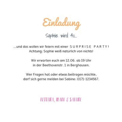 Partyeinladung Surpriseparty mit Foto 3