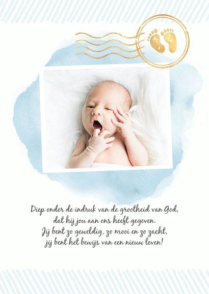 Paspoort geboortekaartje waterverf jongen stempels goud 3