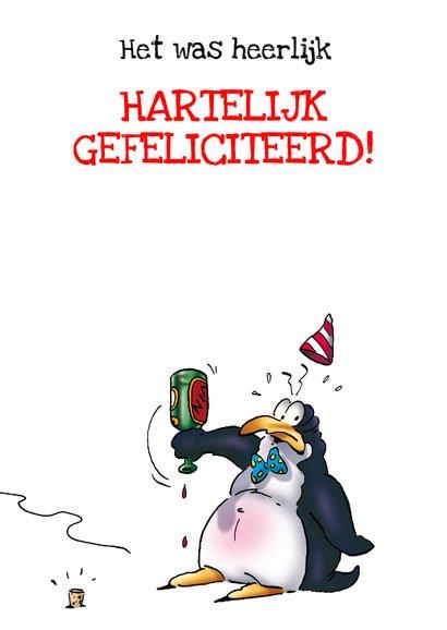 Penguins foto verjaardag 4 met fles wijn RN. 3