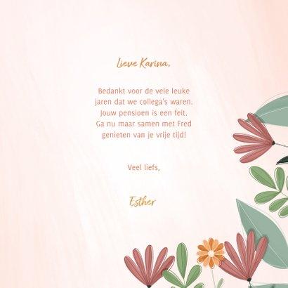 Pensioenkaart hoera met kleurrijke bloemen 3