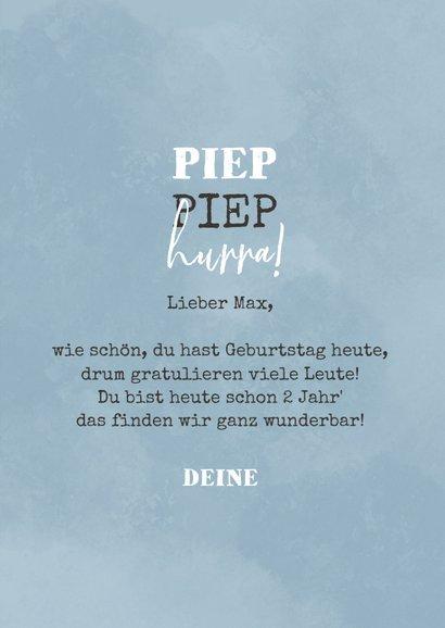 'Piep piep hurra' blaue Geburtstagskarte mit Maus 3