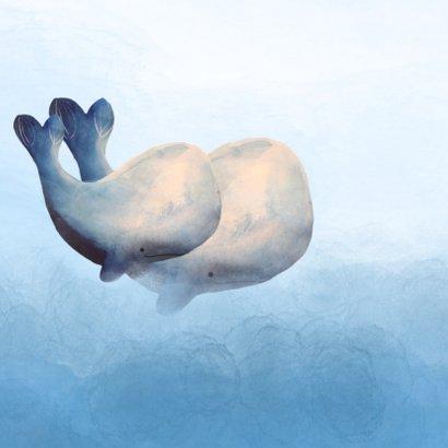 Prachtig geboortekaartje met waterverf en walvis gezin 2
