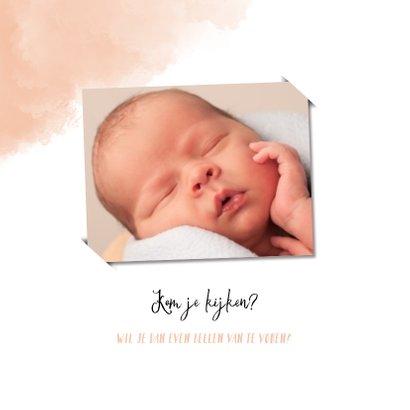 Raamvisite uitnodiging geboorte dochter met roze achtergrond 2