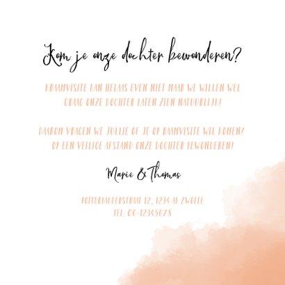 Raamvisite uitnodiging geboorte dochter met roze achtergrond 3