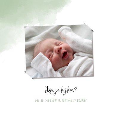 Raamvisite uitnodiging geboorte zoon met groene achtergrond 2