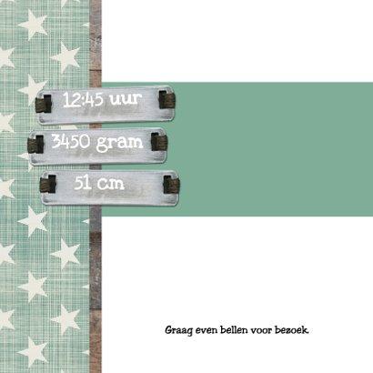 Retro groen met hout geboortekaartje 2