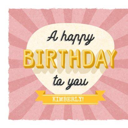Retro verjaardagskaart met typografie en aanpasbare naam 2