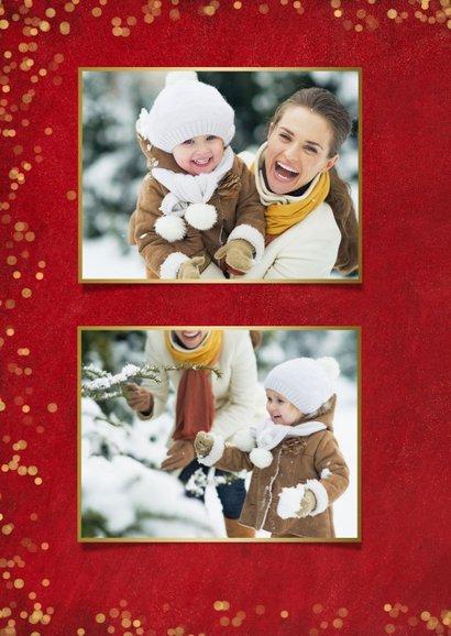 Rode sfeervolle fotocollage kerstkaart met goudlook confetti 2