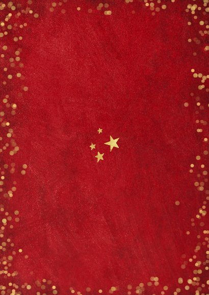 Rode sfeervolle fotocollage kerstkaart met goudlook confetti Achterkant