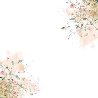 Romantisch bloemen geboortekaartje meisje Achterkant