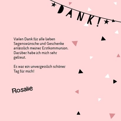Rosa Danksagung zur Kommunion Fotocollage & Girlande 3