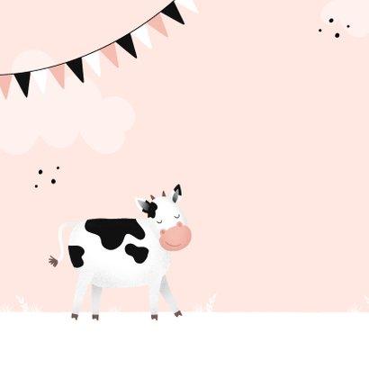 Rosa Glückwunschkarte Kindergeburtstag freundliche Kuh 2