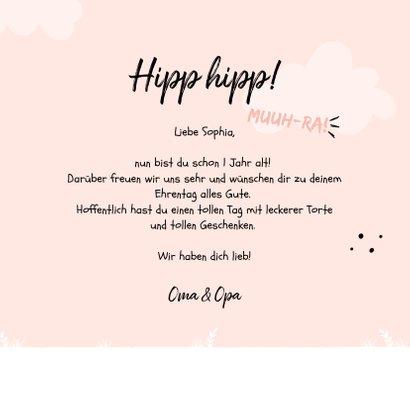 Rosa Glückwunschkarte Kindergeburtstag freundliche Kuh 3