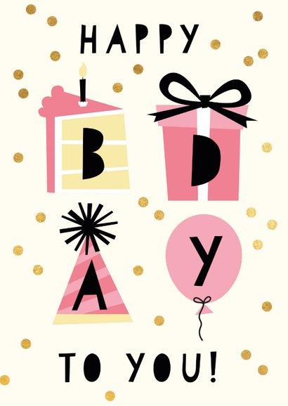 Rosa Konfetti-Glückwunschkarte 'happy bday to you' 2