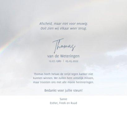 Rouwkaart aan het einde van de regenboog 3