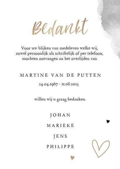 Rouwkaart bedankkaart stijlvol bloemen zwart wit goud 3