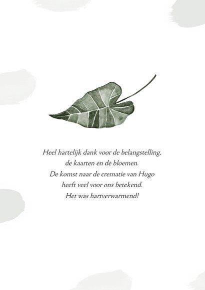 Rouwkaart bidprent foto bedankt natuur blad groen 2