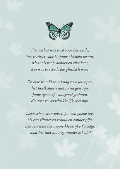 Rouwkaart bidprentje vlinder kind foto jongen of meisje 2