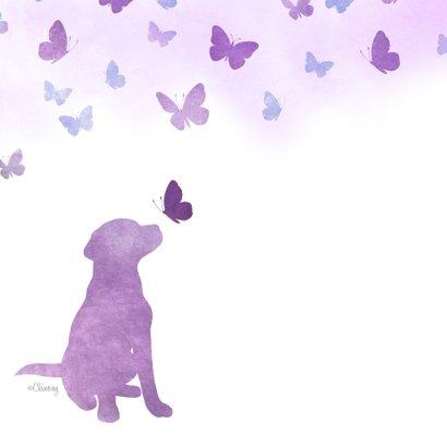 Rouwkaart huisdier hondje met vlinders 2