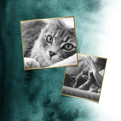 Rouwkaart huisdier kat fotokaart verf goud pootafdruk 2