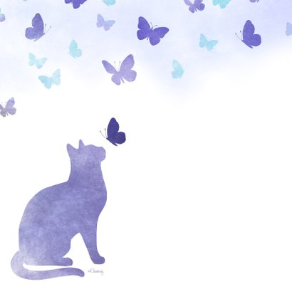 Rouwkaart huisdier kat met vlinders 2