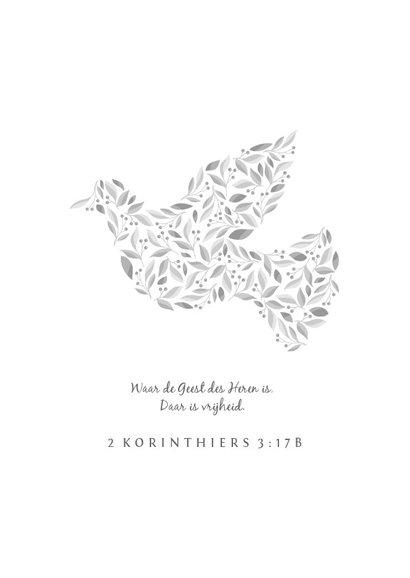 Rouwkaart met duif van bloemen in grijstinten 2
