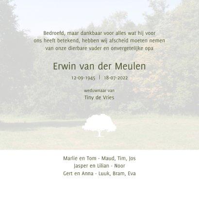 Rouwkaart met foto van boom in landschap 3