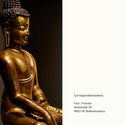 Rouwkaart met gouden Buddha en eigen foto 2