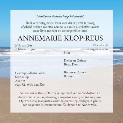 Rouwkaart Noordzee strand 3