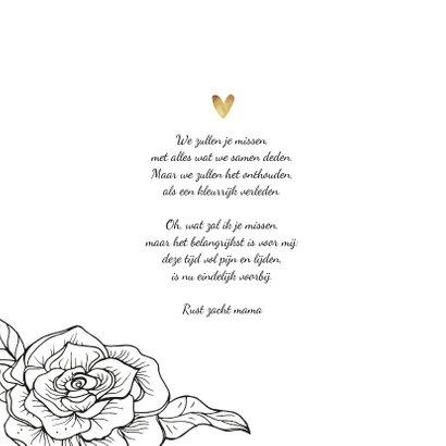 Rouwkaart stijlvol bloemen foto hartjes 2