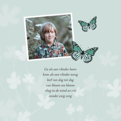 Rouwkaart vlinder stijlvol bloemen kind jongen meisje 2