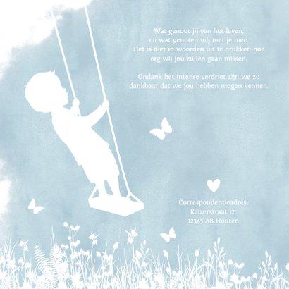 Rouwkaart voor een jongen - silhouet van een lege schommel 2