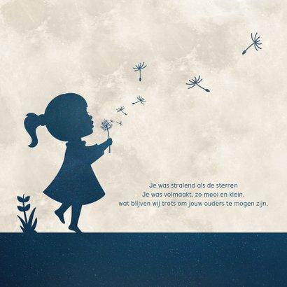 Rouwkaart voor een kind - silhouet meisje met paardenbloem 2