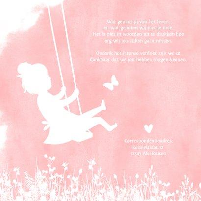 Rouwkaart voor een meisje - silhouet van een lege schommel 2