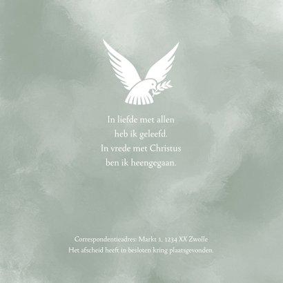 Rouwkaart Vredesduif - rust in vrede 2
