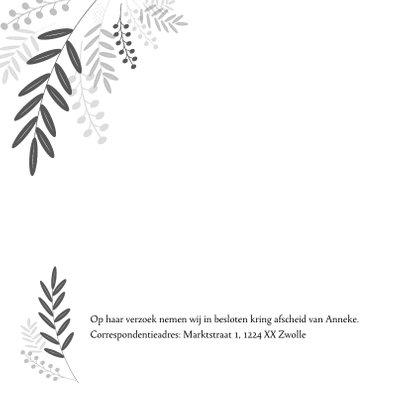 Rouwkaart zwart wit met botanische elementen 2