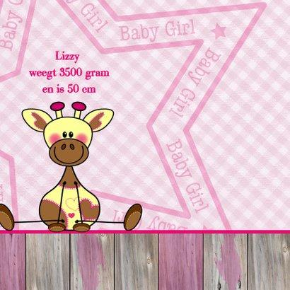 Roze geboortekaart Giraf meisje 2