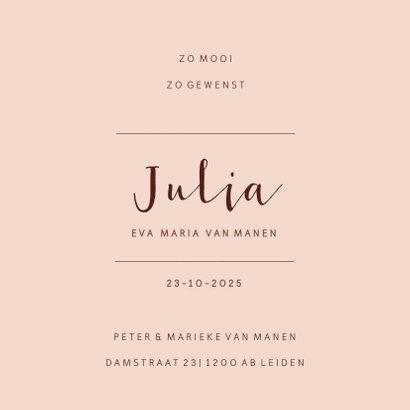Roze geboortekaartje met droogbloemen 3