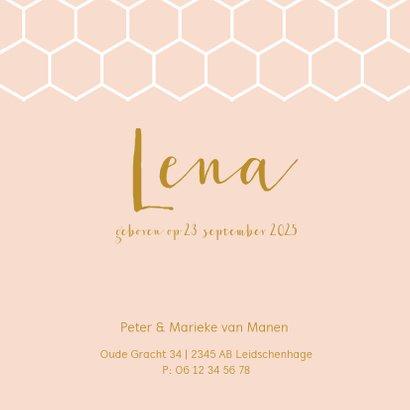 Roze geboortekaartje met een wit honingraat patroon 3