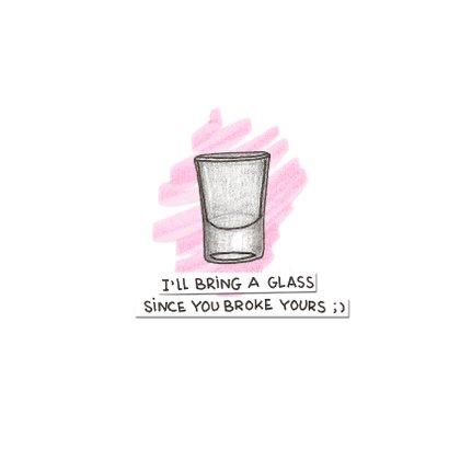 Roze kaart for a bad day met illustratie van een fles wodka 3