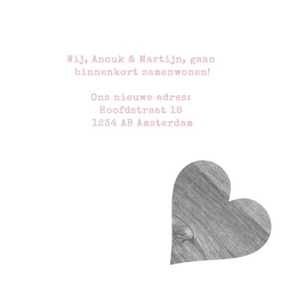 Samenwonen hout hart tekst 3