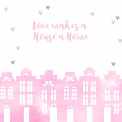Samenwonen kaart huisjes roze aquarel en hartjes 2