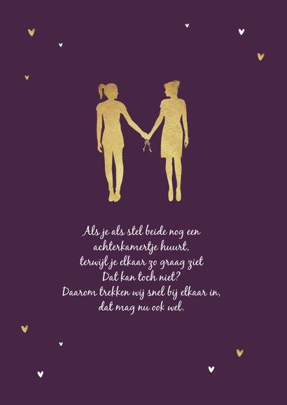 Samenwonen lesbisch goud hartjes silhouet verhuiskaart 2